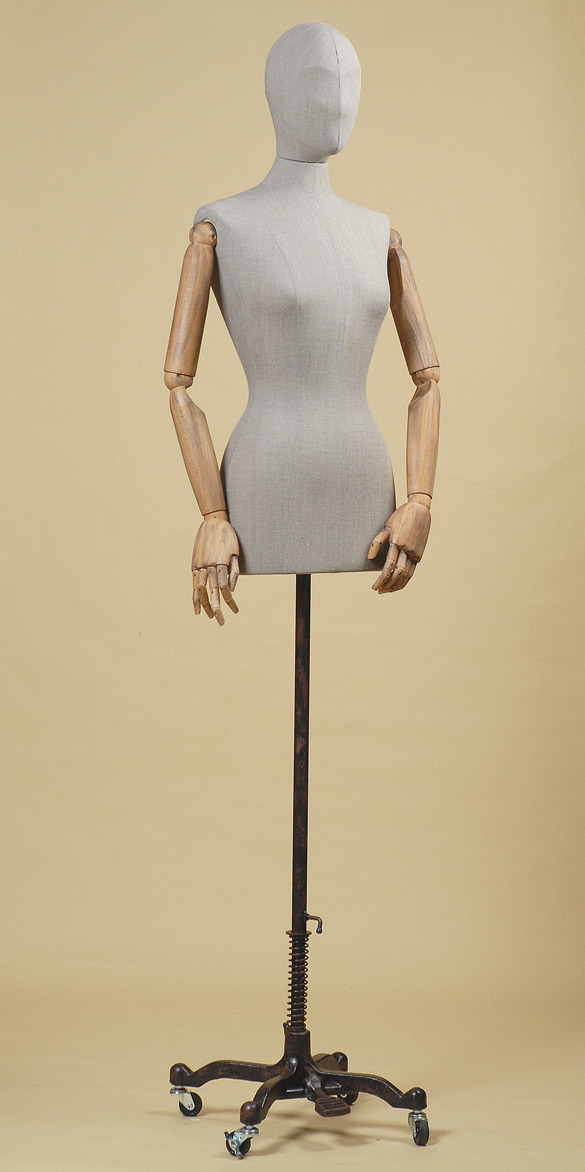 Female Tailor S Dummy In Grey Rough Linen With Aged