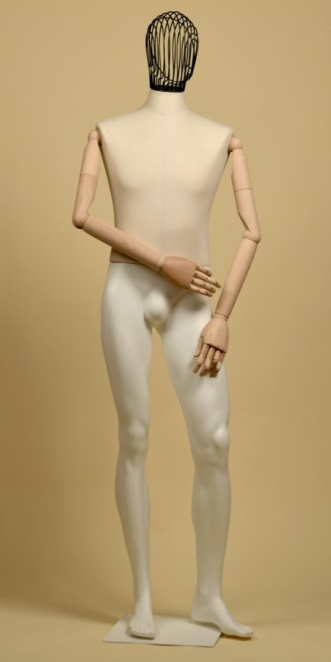 Mannequin-man-head-wire-iron-arms-wood-cotton-panama