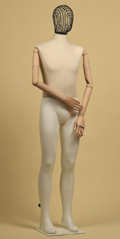 Mannequin-man-head-wire-iron-arms-wood cotton-panama-linear-position