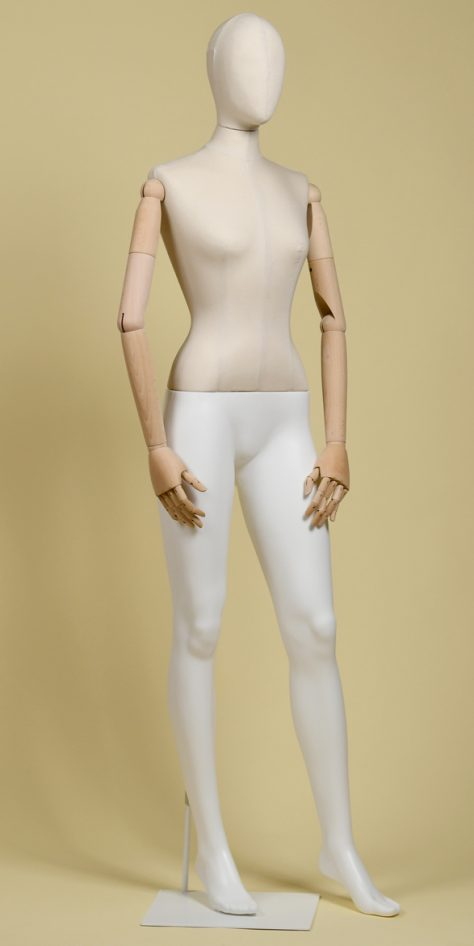 FEMALE MANNEQUIN IN ECRU COTTON PANAMA WITH BEECHWOOD ARMS, WHITE POLYURETHANE LEGS AND WHITE RECTANGULAR IRON BASE, LINEAR POSTURE