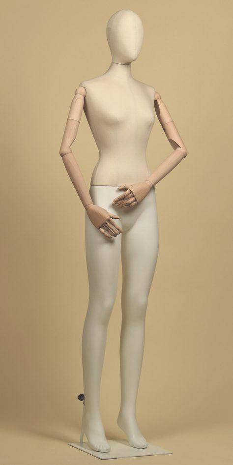 Mannequin-woman-wood cotton-panama-linear-position
