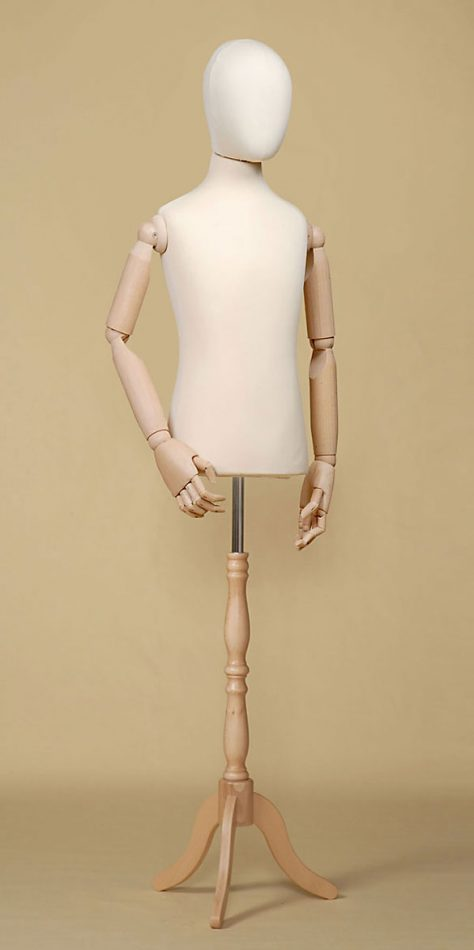 TWELVE-YEAR-OLD CHILD TAILOR'S DUMMY IN ECRU ELASTANE WITH BEECHWOOD ARMS AND TRIPOD STAND