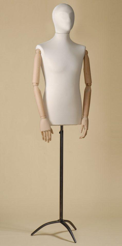 Mannequin couture homme en spandex écru avec bras de hêtre et base tripode de fer noir