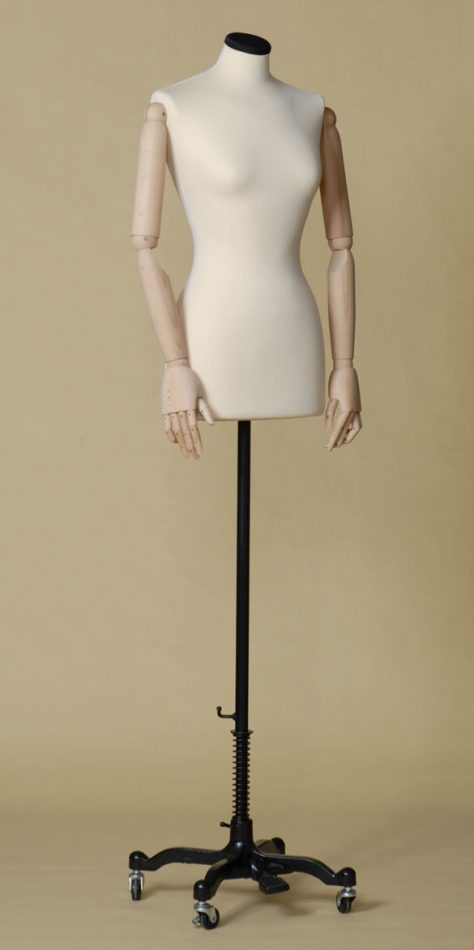 MALE TAILORS DUMMY MANNEQUIN IN SPANDEX - ELASTAN FABRIC WITH ARMS AND WHEEL STAND