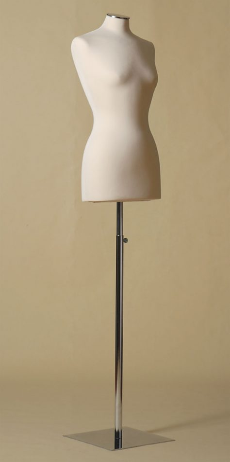FEMALE TAILORS DUMMY MANNEQUIN IN SPANDEX - ELASTAN FABRIC WITH NECK CAP AND HEIGHT- ADJUSTABLE IRON SQUARE BASE
