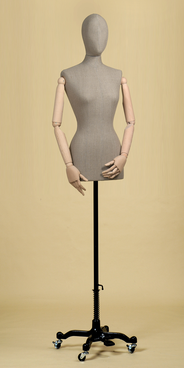 FEMALE TAILORS DUMMY MANNEQUIN IN ROUGH LINEN FABRIC WITH ARMS AND WHEEL STAND