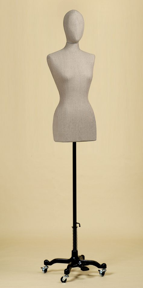 FEMALE TAILORS DUMMY MANNEQUIN IN ROUGH LINEN FABRIC WITH WHEEL STAND