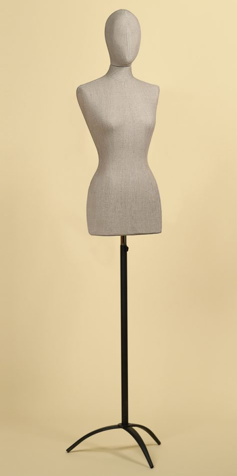 FEMALE TAILORS DUMMY MANNEQUIN IN ROUGH LINEN FABRIC WITH STEEL TRIPOD STAND