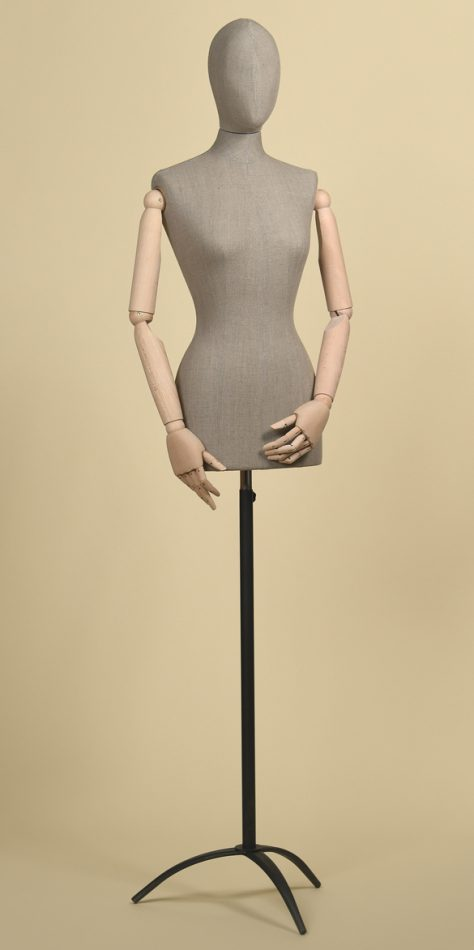 FEMALE TAILORS DUMMY MANNEQUIN IN ROUGH LINEN FABRIC WITH ARMS AND STEEL TRIPOD STAND