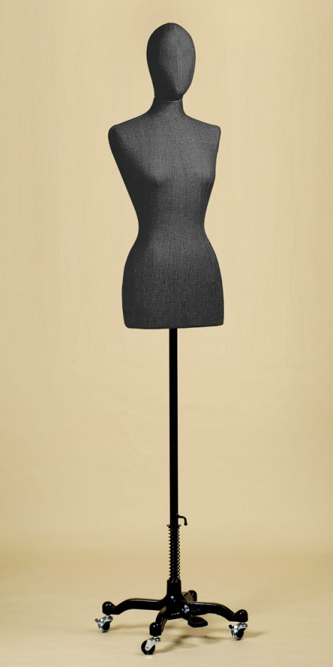 FEMALE TAILORS DUMMY MANNEQUIN IN BLACK LINEN MIX FABRIC WITH WHEEL STAND