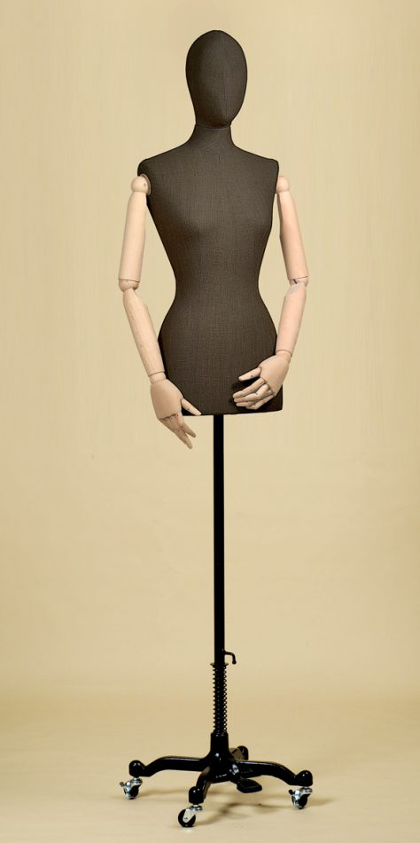 FEMALE TAILORS DUMMY MANNEQUIN IN BLACK LINEN MIX FABRIC WITH ARMS AND WHEEL STAND