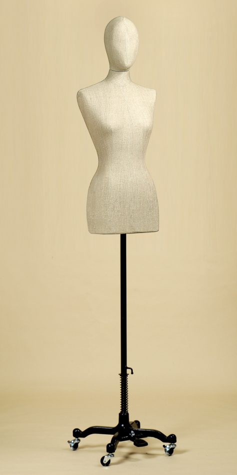 FEMALE TAILORS DUMMY MANNEQUIN IN LINEN MIX FABRIC WITH WHEEL STAND