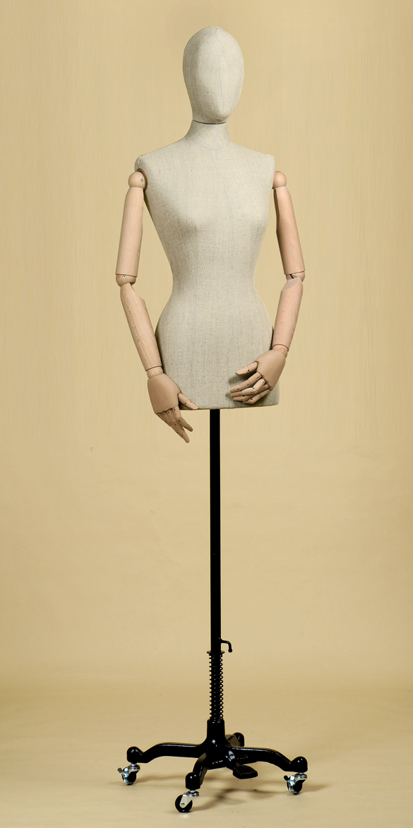 FEMALE TAILORS DUMMY MANNEQUIN IN LINEN MIX FABRIC WITH ARMS AND WHEEL STAND