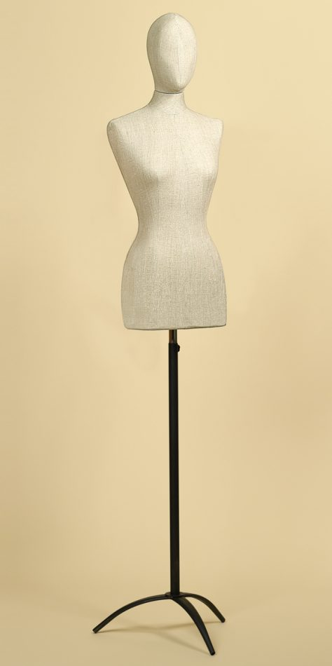FEMALE TAILORS DUMMY MANNEQUIN IN LINEN MIX FABRIC WITH STEEL TRIPOD STAND