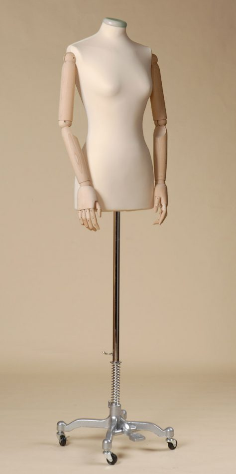 FEMALE TAILORS DUMMY MANNEQUIN IN SPANDEX - ELASTAN FABRIC WITH ARMS AND ALLUMINIUM PAINTED WHEEL STAND