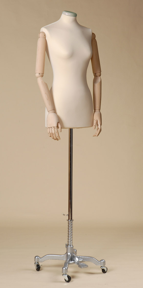 Headless Female Tailor S Dummy In Ecru Spandex With White