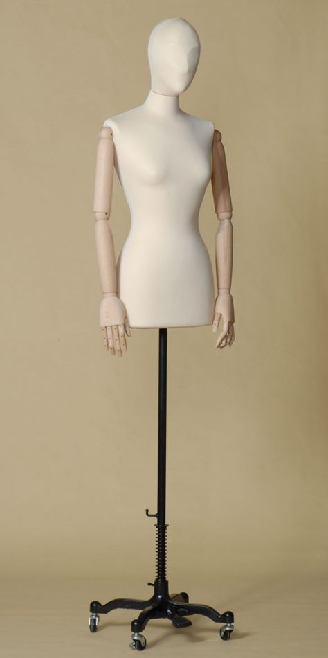 FEMALE TAILORS DUMMY MANNEQUIN IN SPANDEX - ELASTAN FABRIC WITH ARMS AND WHEEL STAND