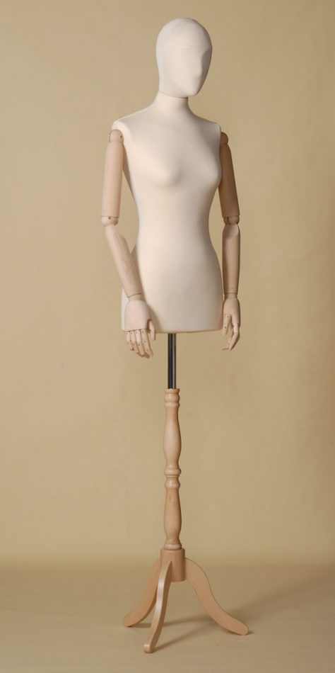 FEMALE TAILORS DUMMY MANNEQUIN IN SPANDEX - ELASTAN FABRIC WITH ARMS AND BEECH WOOD TRIPOD STAND