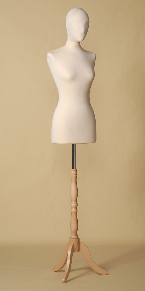 FEMALE TAILORS DUMMY MANNEQUIN IN SPANDEX - ELASTAN FABRIC WITH BEECH WOOD TRIPOD STAND