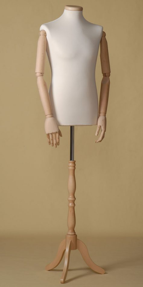 MALE TAILORS DUMMY MANNEQUIN IN SPANDEX - ELASTAN FABRIC WITH NECK CAP AND BEECH WOOD TRIPOD STAND