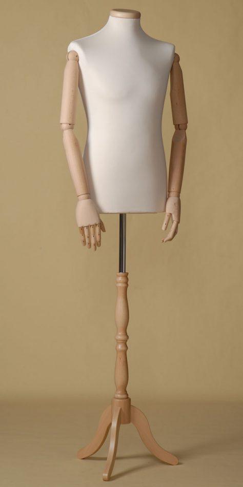 Mannequin couture homme en élasthanne écru avec bouchon pour le cou en hêtre, bras et base tripode