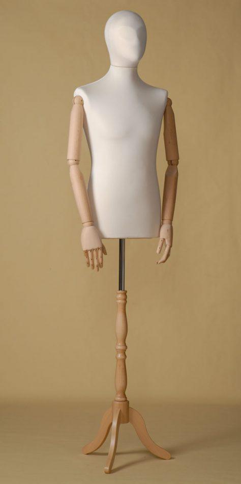 Mannequin couture homme en élasthanne écru avec bras de hêtre et base tripode