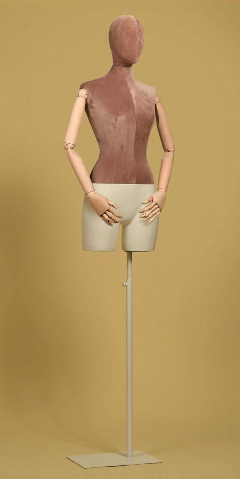 female-tailors-dummy-old-rose-velvet-beechwood-arms-white-iron-base