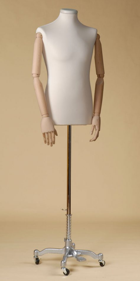 MALE TAILORS DUMMY MANNEQUIN IN SPANDEX - ELASTAN FABRIC WITH ARMS AND ALLUMINIUM COLOR PAINTED WHEEL STAND
