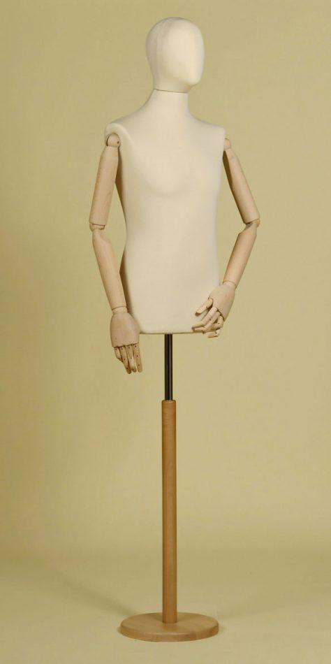 Mannequin couture homme en élasthanne écru avec bras de hêtre et base ronde