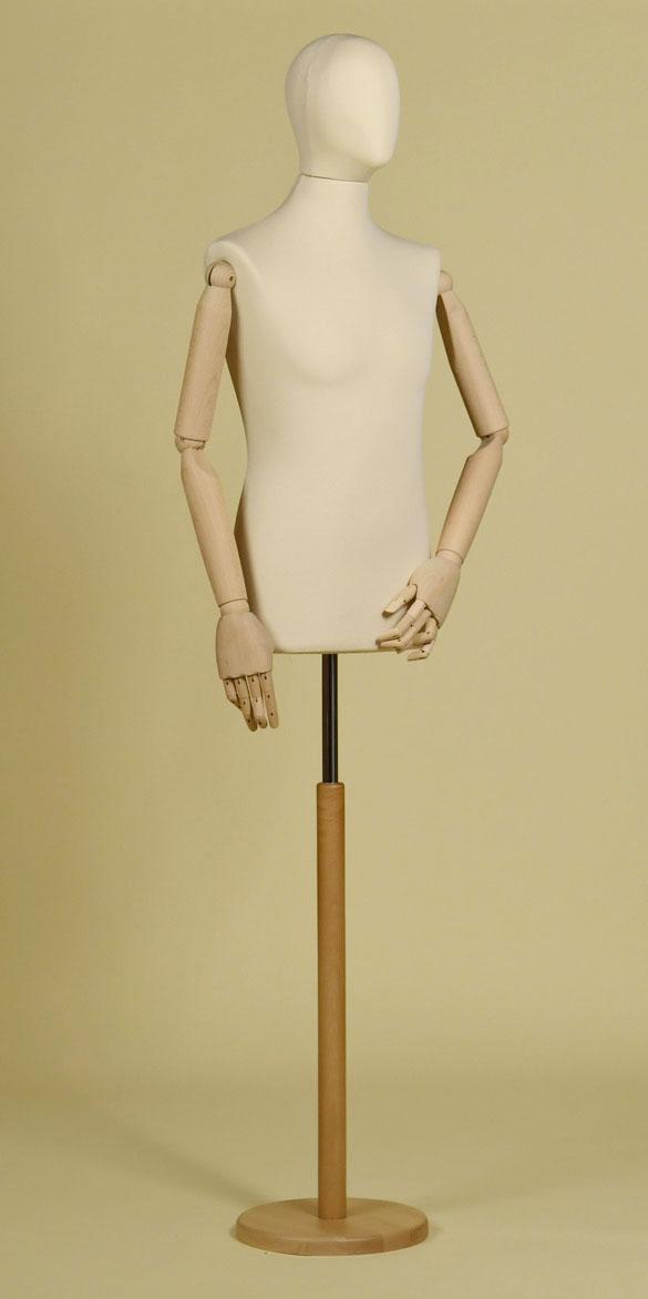sartorial-bust-man-head-stretch-fabric-ecru-arms-round-wood-base