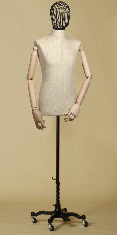 sartorial-bust-man-head-wire-iron-arms-mix-linen-cast-iron-wheel