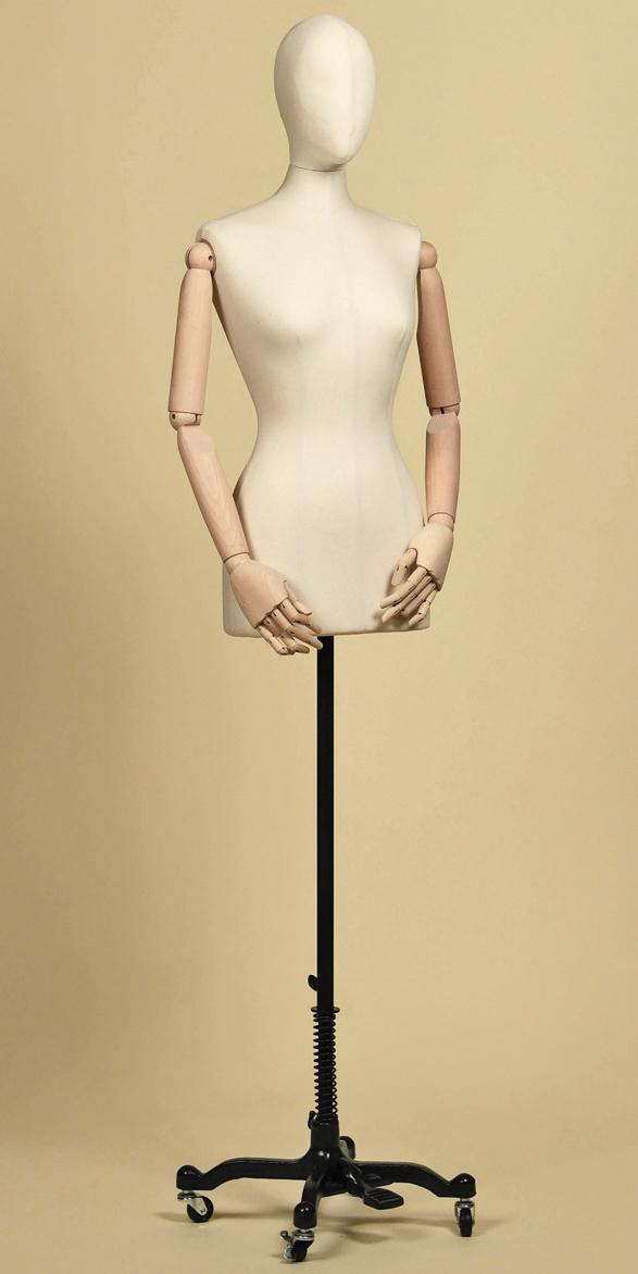 sartorial-bust-woman-head-arms-fabric-cotton-panama-base-cast-iron-wheels