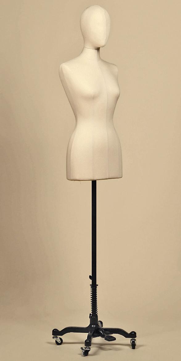 sartorial-bust-woman-head-fabric-cotton-panama-base-cast-iron-wheels